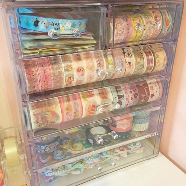 Kawaii Stationery Storage Ideas - washi tape
