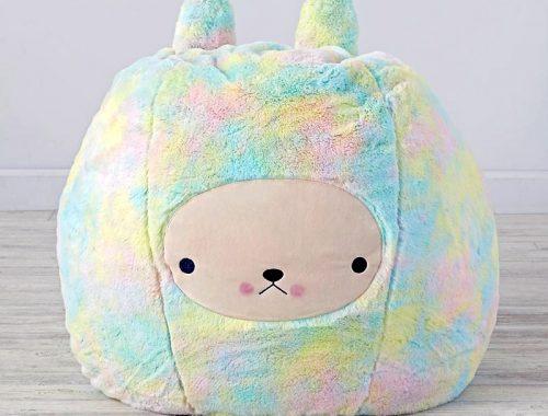 rainbow bunny bean bag