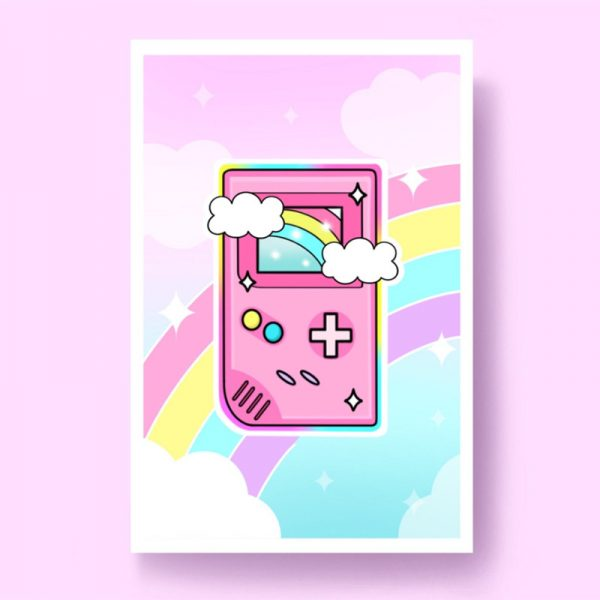 Cute Pastel Retro Gameboy print