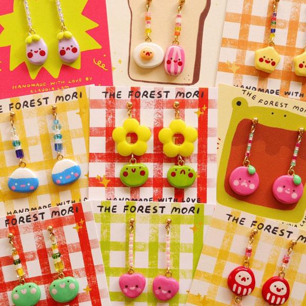 handmade polymer clay kawaii earrings