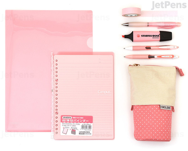 Pink kawaii stationery set