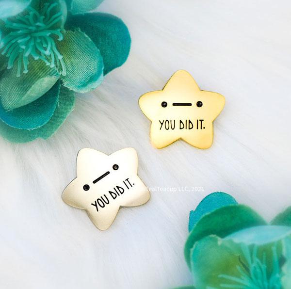 gold star enamel pins