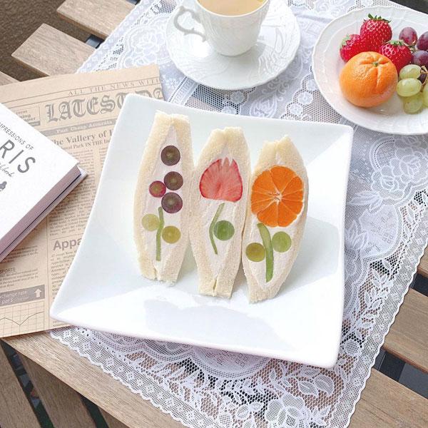 Japanese fruit flower sandwiches
