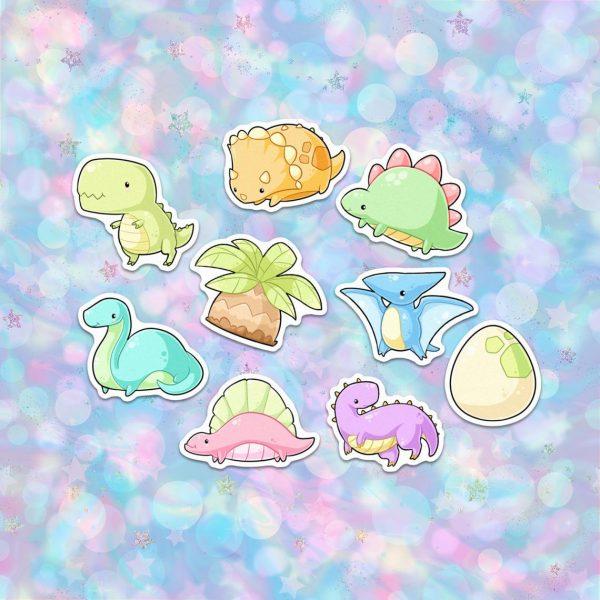 kawaii dinosaurs stickers