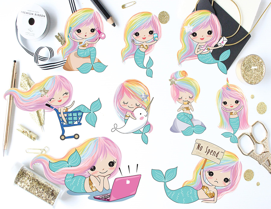 kawaii mermaid planner stickers