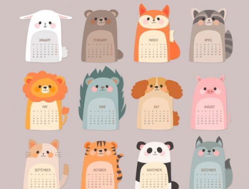 Free 2019 Printable Calendars - Animals