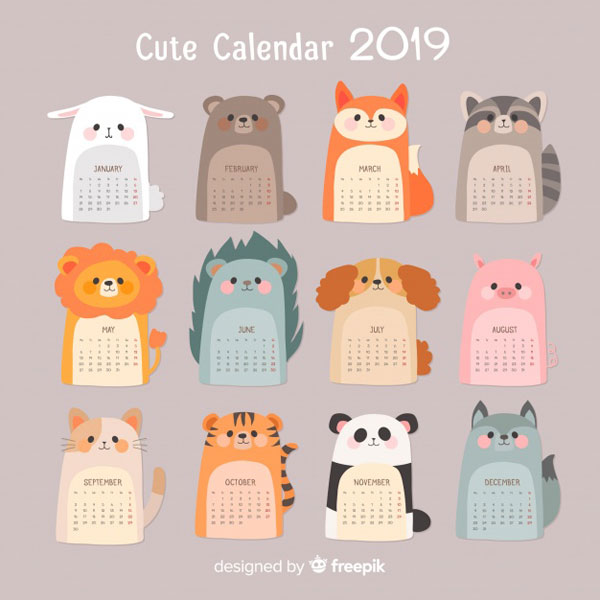 photo regarding Cute Free Printable Calendars referred to as Adorable 2019 Printable Calendars - Tremendous Adorable Kawaii!!