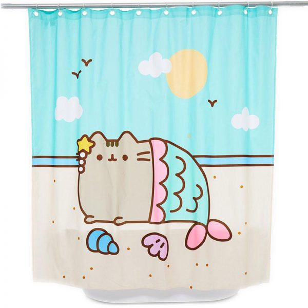 kawaii bathroom accessories - pusheen shower curtain