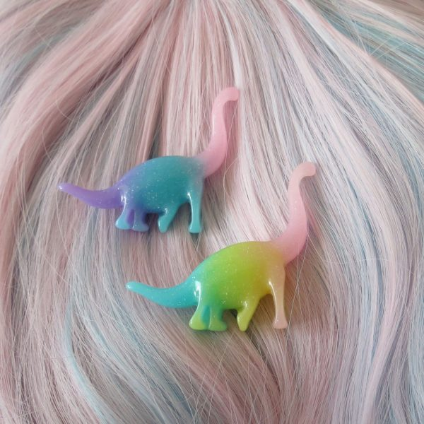 kawaii dinosaurs hair clips