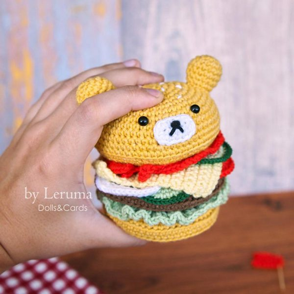 Kawaii Hamburger amigurumi crochet pattern