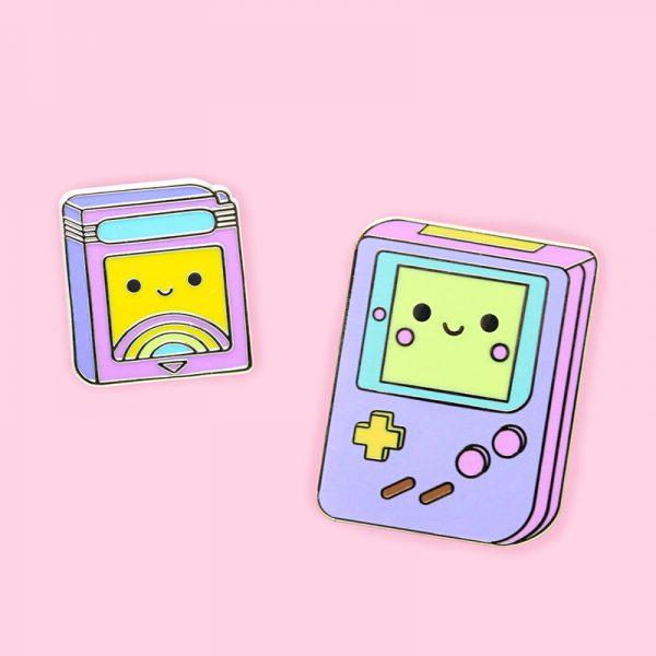 Cute Pastel Retro Gameboy enamel pins