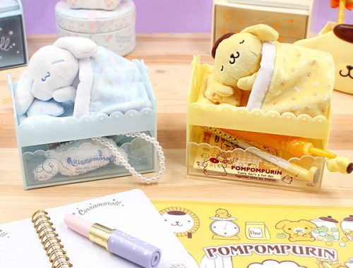 kawaii desk accessories pompompurin cinnamoroll plush drawer storage
