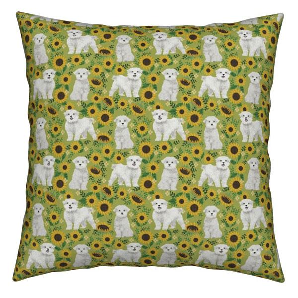 kawaii sunflowers dog pillow