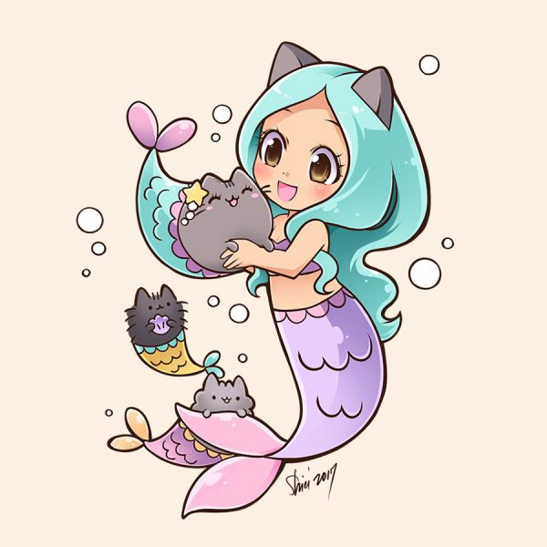 Cute Mermaid pusheen art