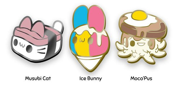 Musubi Cat plush enamel pins