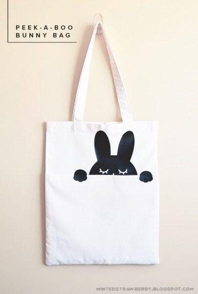 free DIY patterns - kawaii bunny tote bag