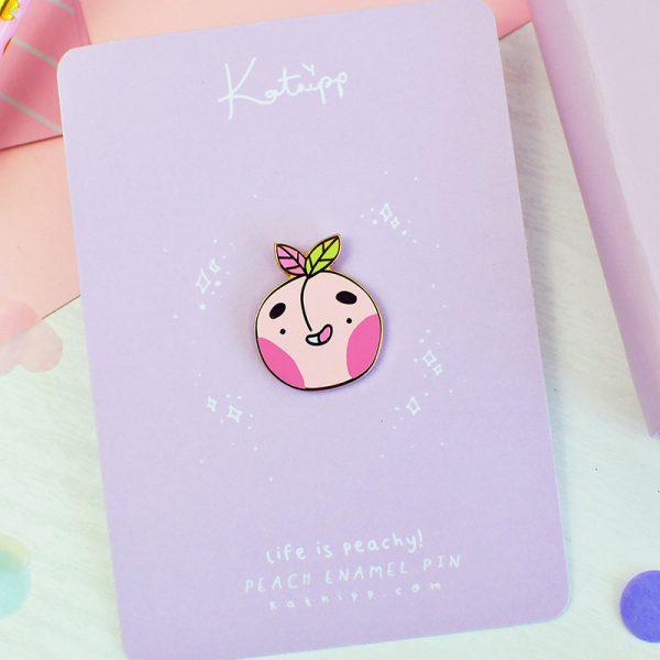 kawaii peach enamel pins