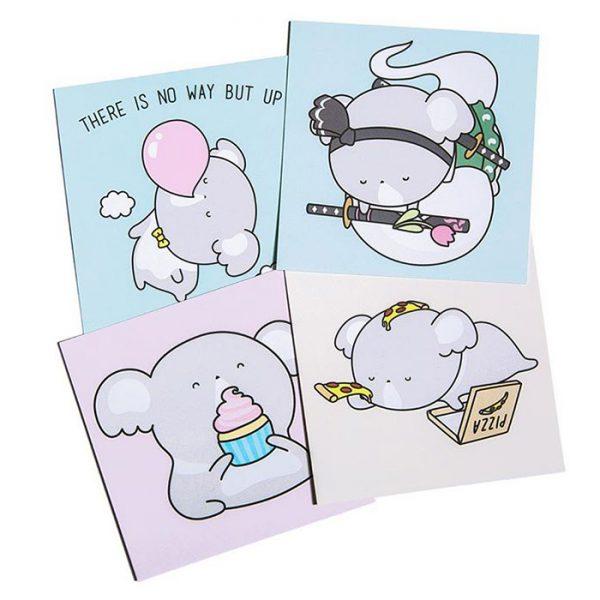 Luna Koala kawaii cards