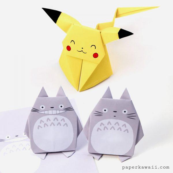 Pikachu & Totoro kawaii origami