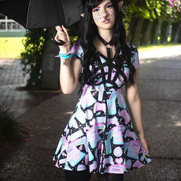 Cute Pastel Retro Gameboy dress