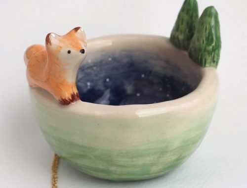 Ceramic Animals By The Star and Heart Studio - fox bowl
