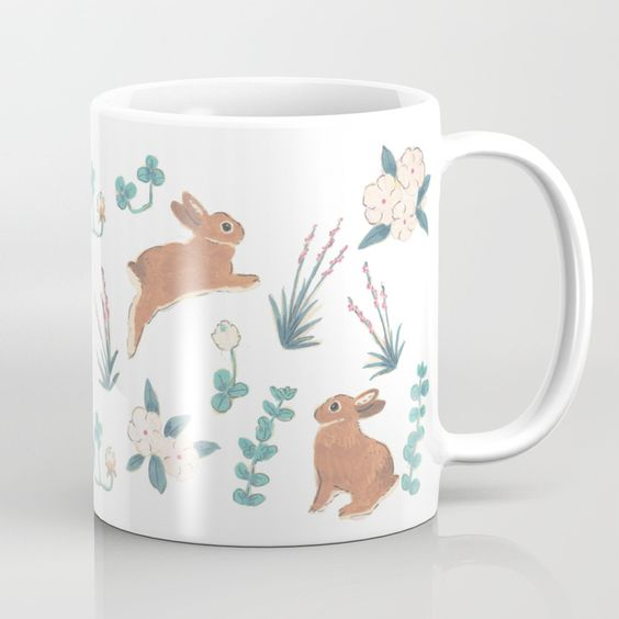 cute bunny art mug
