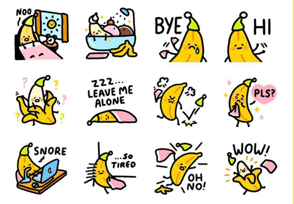 Kawaii Message Stickers - banana