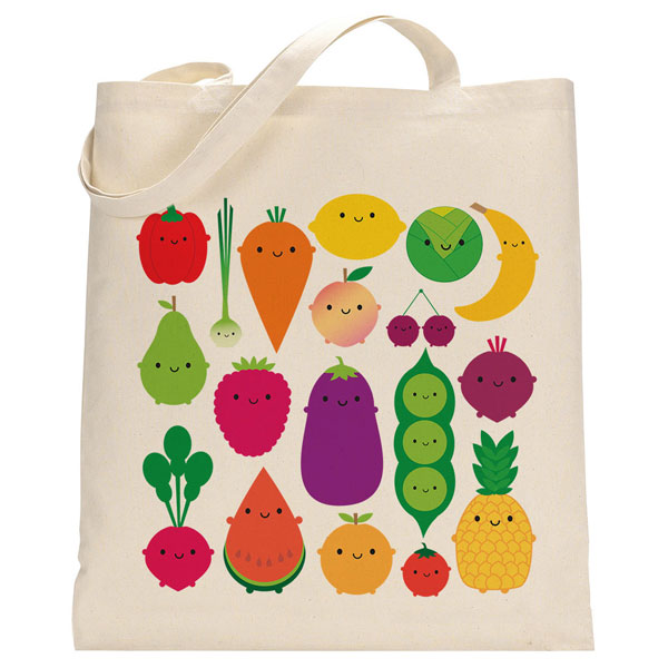 kawaii fruit and vegetables shopper bag