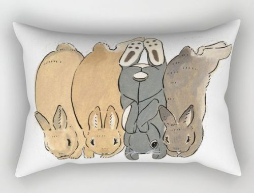 cute bunny art pillow