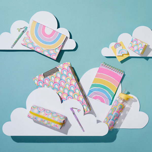 pastel rainbow kawaii stationery