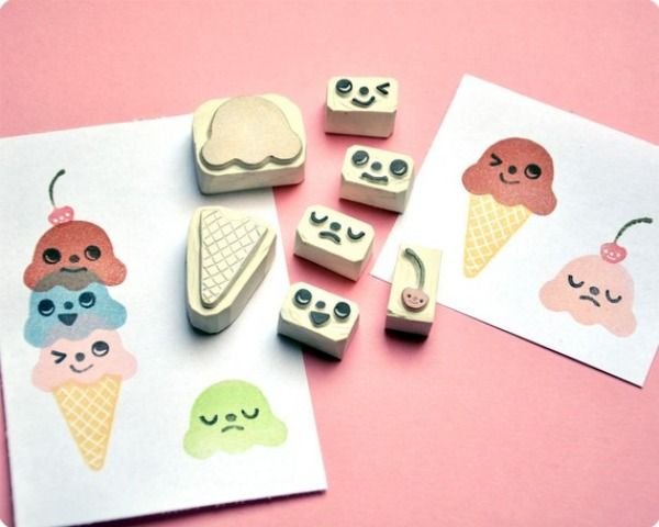 ice cream kawaii rubber stamps