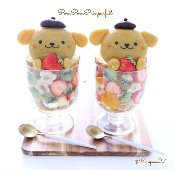 Pompompurin parfait kawaii recipe