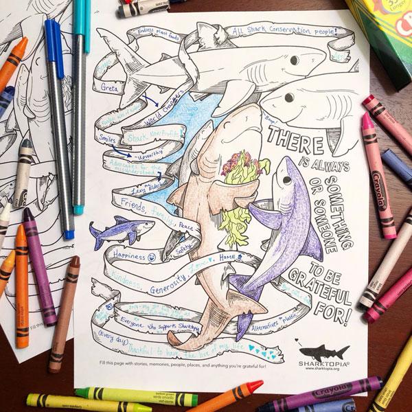 kawaii sharks colouring page