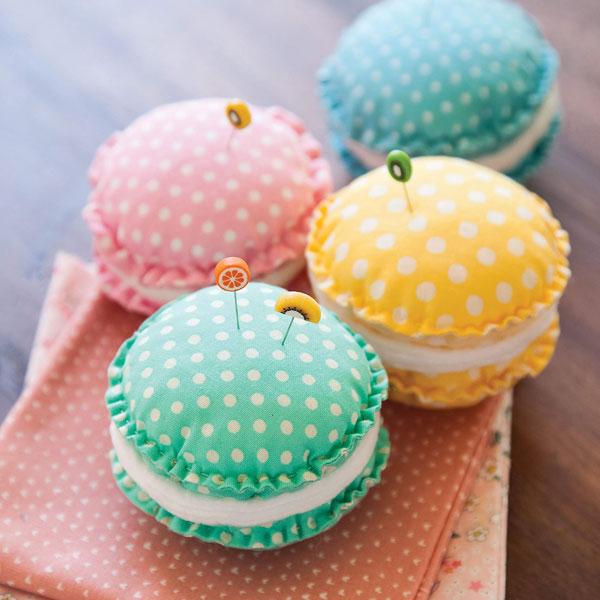 DIY macaron pincushions