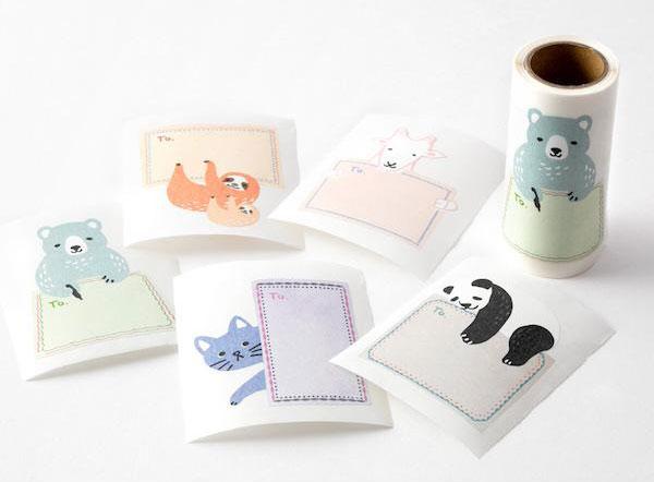 kawaii stationery - animal label stickers