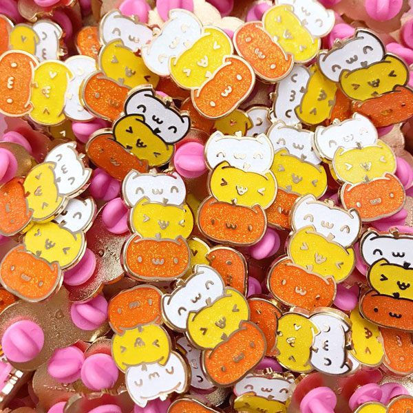 Kawaii Halloween Enamel Pins - pumpkin cats
