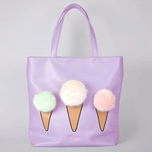 Kawaii Bags ice cream pom poms tote