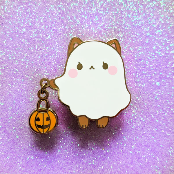 Kawaii Halloween Enamel Pins - ghost dog