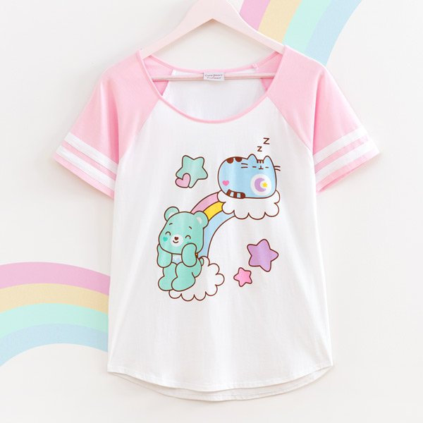 Care Bears x Pusheen raglan tee