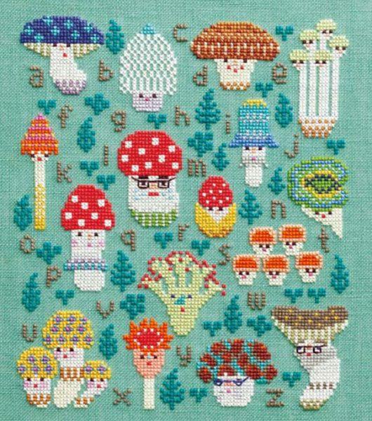 free kawaii mushrooms cross stitch pattern