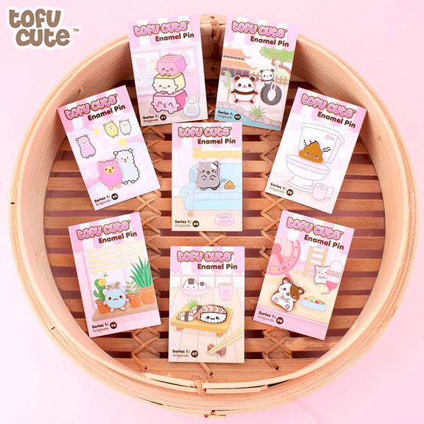 tofu cute enamel pins