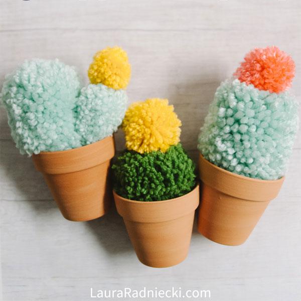 DIY pom pom cactus