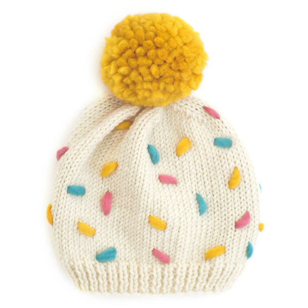 kawaii sprinkles pom pom hat knitting pattern