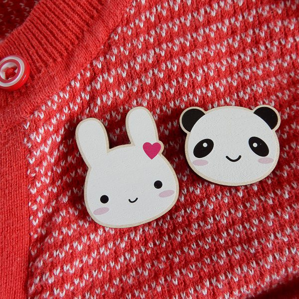 askingfortrouble bunny and panda brooches