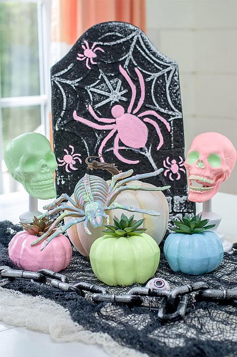 DIY Pastel pumpkin Halloween Decorations