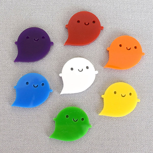 kawaii rainbow ghost brooch