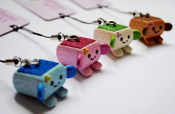 kawaii tofu phone charm
