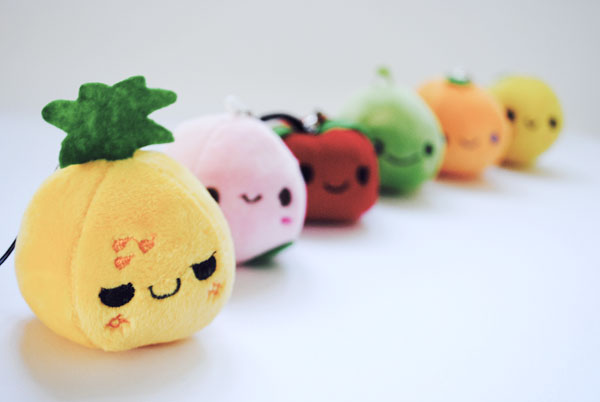 kawaii fruit plush phone charm