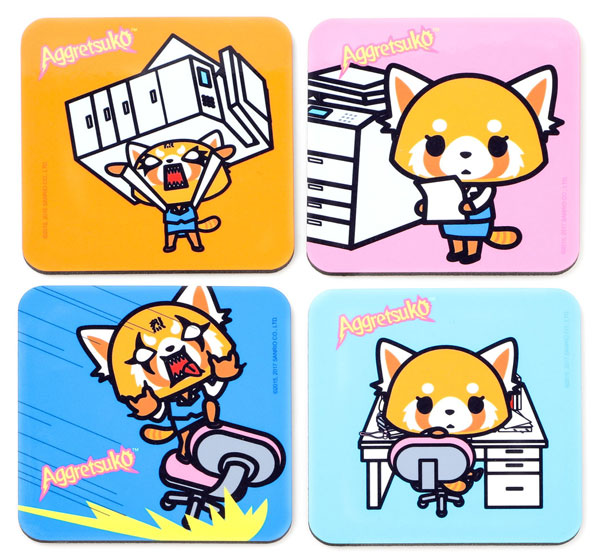 Aggretsuko kawaii coasters