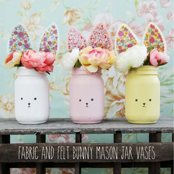 free easter crafts - bunny mason jars